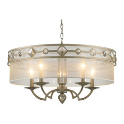 Golden Lighting - Golden Lighting 6390-5-WG Coronada 5-Light Chandeliers in White Gold - Transitional style combines traditional silhouettes and materials with organic and geometric shapes. Decorative motif of large, faceted crystals. White Gold finish. Sheer Filigree shades softly diffuse the light. A chandelier creates a stylish focal point. Comfortably sized for a typical dining room.