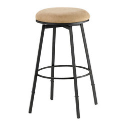 Hillsdale Furniture - Hillsdale Sanders Adjustable Backless 24-30 Inch Barstool in Matte Black - Hillsdale Furniture's Sanders barstool is both versatile and efficient. with a 360 degree swivel seat, a choice of black finish with brown faux suede or pewter finish with black faux suede seat fabric this stool is a perfect addition to your kitchen or bar. Even better, the Sanders can be used as a counter or bar height stool depending on the leg extension you choose. Constructed of fully-welded heavy gauge metal. Minor assembly required.