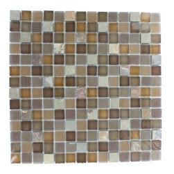 "GlassTileStore - Geological Squares Multicolor Slate & Earth Blend Glass Tiles - Geological Squares Multicolor Slate + Earth Blend Glass Tiles 3/4 x 3/4          This striking square design has a combination of multicolor slate and brown and rust glass. These mesh mounted and will bring a sleek and contemporary clean design to any room.         Chip Size: 3/4 x 3/4   Color: Multicolo, Brown and Rust   Material: Slate and Glass   Finish: Frosted and Polished   Sold by the Sheet - each sheet measures 12""x12x (1 sq. ft.)   Thickness: 8mm            - Glass Tile -"