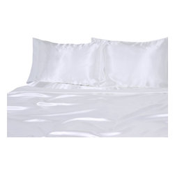 Ultra Soft Satin Silk Duvet Set Twin, White - You are buying Duvet Set Include, 1 Duvet Cover (68 x 90) and 2 Standard Size (20 x 30) Pillowcases only.