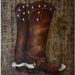 YOSEMITE HOME DECOR - Cowboy Boots Art Painted on Canvas - Boots, painted in rich tones of brown and burnt sienna with raised metallic elements and finished with lacquer.