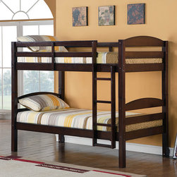 Walker Edison - Solid Wood Espresso Twin/ Twin Bunk Bed - Elegance and function combine to give this contemporary wood bunk bed a striking appearance. This safety-certified bed includes full-length guardrails and an integrated ladder. Unlike other twin bunk beds, this bed also converts into two twin beds.