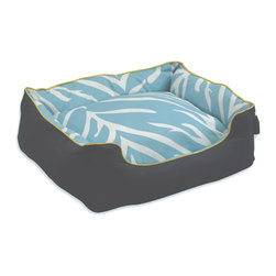 ez living home - Zebra Couch Bed Cream on Turquoise - Who says pet beds have to look dumpy and ugly? This one's got both structure and style, with bolstered sides to give your pet that secure, held feeling and a pretty turquoise zebra print as fashionable as any modern throw pillow. Sure it'll get mucked up with hair and dust, but then you can just remove the cover and toss it in the wash.
