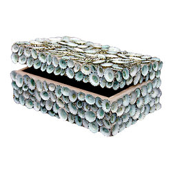 Kathy Kuo Home - Oyster Bay Coastal Blue Limpet Shell Decorative Box - by Karen Robertson - She sells seashells by the seashore, and this shell-encrusted box is the loveliest item of all. Stow your tiny treasures with all the splendor the sea has to offer, in a box that reflects the spirit of the ocean. On your dresser, it will add a touch of whimsical natural beauty.