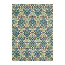 """Waverly - Waverly Wav16 Treasures WTR03 2'6"""" x 8' Bluejay Area Rug 23530 - A traditional stenciled Damask design claims an air of utter enchantment when presented in grand scale and revealed in inspired shades of sky blue, dove grey, pale birch and rich brown. With its intricate detailing, texture and color play, this Dress Up Damask area rug by Waverly for Nourison is both elegant and intriguing."""