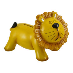 Jewel Eyes Lion Coin Bank - This adorable lion coin bank has jewels in its eyes! With bristling whiskers, a brown nose, and yellow jewel eyes, this bold lion will make a charming accent to a kid`s room. The coin bank is made from cold cast resin and measures 7 inches long, 5 inches tall, and 4 inches wide. A plastic cap on the bottom allows easy access to the treasures within. Encourage the kids to save up for their very own set of jewel eyes. Note: jewel eyes may impair vision.