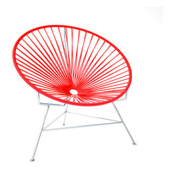 Innit Chair, Chrome Frame With Red Weave - This iconic chair is perfect for outdoor living, as the woven vinyl is weather poof and easy to clean. But add it to a living room scheme and it brings the perfect pop of personality. You can order from a rainbow of colors to contrast the chrome base or stick with the classic black vinyl for a modern look.