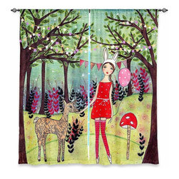 "DiaNoche Designs - Window Curtains Unlined - Sascalia Woodland Deer - DiaNoche Designs works with artists from around the world to print their stunning works to many unique home decor items.  Purchasing window curtains just got easier and better! Create a designer look to any of your living spaces with our decorative and unique ""Unlined Window Curtains."" Perfect for the living room, dining room or bedroom, these artistic curtains are an easy and inexpensive way to add color and style when decorating your home.  The art is printed to a polyester fabric that softly filters outside light and creates a privacy barrier.  Watch the art brighten in the sunlight!  Each package includes two easy-to-hang, 3 inch diameter pole-pocket curtain panels.  The width listed is the total measurement of the two panels.  Curtain rod sold separately. Easy care, machine wash cold, tumble dry low, iron low if needed.  Printed in the USA."