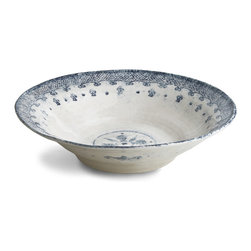 Arte Italica - Burano Large Salad Bowl - Serve your artisanal salad in style in this Italian ceramic, handmade salad bowl, featuring an eye-pleasing border design reminiscent of the embroidered lace of Burano. Complete with uneven edges and uniquely hand painted, it looks like an antique yet can withstand the dishwasher set on lowest heat.