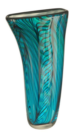 Dale Tiffany - Dale Tiffany AV11094 Loyola Modern / Contemporary Decorative Vase - In our Favrile Art Glass Collection, our designers have called upon Louis Comfort Tiffany's love of nature for their inspiration on our lovely Loyola vase. Favrile differs from other art glass because the colors are embedded within the glass itself, ensuring that no two pieces are quite the same. The gently scalloped shade is a deep green blue with a leaf pattern blown into the glass. A tranquil addition to any home, Loyola makes a thoughtful gift for you or for that special someone.
