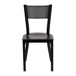 Flash Furniture - Flash Furniture Hercules Series Black Back Metal Chair in Mahogany - Flash Furniture - Dining Chairs - XUDG60115GRDMAHWGG - Provide your customers with the ultimate dining experience by offering great food service and attractive furnishings. This heavy duty commercial metal chair is ideal for Restaurants Hotels Bars Lounges and in the Home. Whether you are setting up a new facility or in need of a upgrade this attractive chair will complement any environment. This metal chair is lightweight and will make it easy to move around. This easy to clean chair will complement any environment to fill the void in your decor. [XU-DG-60115-GRD-MAHW-GG]