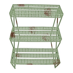 Esschert Design - Industrial Heritage Etagere Rectangular - Industrial Heritage Design  Rectangle Etagere.  3 shelves of distressed metal are 6.75 inches deep. 26 in x 20in x 30in