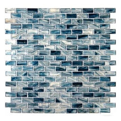 "Tilesbay.com - Sample of 12X12 Interlocking Crystallized Blue Cotton Glass Tile - Blue cotton 1.25"" x 0.6 x 6mm Crystallized tiles is an exquisite glass mosaic on a 12x12 mesh-backed tile with deep blues, lighter blues, and highlights of ivory. This dynamic mosaic tile is recommended for backsplashes, bathroom shower and tub surrounds and other wall projects. Please keep in mind that a typical size of sample is 4x4 or 6x6."