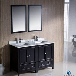 "Fresca - Fresca Oxford 48"" Traditional Double Sink Bathroom Vanity - Espresso - Fresca's Oxford collection is just what you have been looking for. Solid construction with wonderful soft-close dovetail drawers. Available in the rich finishes of Espresso, Antique White and Mahogany. All of the vanities in the Oxford line come with seamless Quartz Stone Countertop and Backsplash. Many faucet styles to choose from. Bring the clean lines of the Oxford from Fresca into your home for many years of enjoyment. Features Espresso Finish Solid Wood Frame, MDF Panels Quartz Stone Countertop Ceramic Undermount Sinks with Overflow Single Hole Faucet Mounts (Faucets Shown In Picture May No Longer Be Available So Please Check Compatible Faucet List) 4 Soft Close Doors 2 Soft Close Dovetail Drawers Seamless Countertop with Matching Backsplash Mirrors Included P-trap, Faucets, Pop-Up Drains and Installation Hardware Included How to handle your counterInstallation Guide"