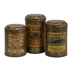 IMAX Worldwide Home - Addie Metal Canisters Set - Set of 3 - Includes three canisters. Antiqued metal canisters each with a distinctive vintage label. Made from 100% galvanized iron. Made in India. Small: 4.5 in. Dia. x 6 in. H (4.41 lbs.). Large: 4.5 in. Dia. x 8 in. H (4.41 lbs.)