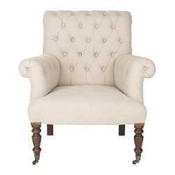 Safavieh - Bennet Club Chair - Decidedly British, the Bennet club chair is a modern remake of elaborately tufted Edwardian-style chairs. A crisp linen blend fabric in true taupe highlights deep button tufting, while plush rolled arms and traditional birch wood bun feet in black affirm a pedigreed design lineage. Far from fussy, the comfortable, transitional Bennet club chair brings instant glamour to any room it inhabits.