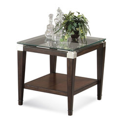 Bassett Mirror - Dunhill Rectangle End Table - Parquet Oak in Walnut Finish with Brushed nickel corners and floating glass top. Fabric: Cocoa, 100% Polyester, CC: S. Measures: 24 in. W x 28 in. D x 24 in. H. Part of the Dunhill Collection.