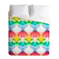 DENY Designs - DENY Designs Deniz Ercelebi Crystal Rainbow Duvet Cover - Lightweight - Turn your basic, boring down comforter into the super stylish focal point of your bedroom. Our Lightweight Duvet is made from an ultra soft, lightweight woven polyester, ivory-colored top with a 100% polyester, ivory-colored bottom. They include a hidden zipper with interior corner ties to secure your comforter. It is comfy, fade-resistant, machine washable and custom printed for each and every customer. If you're looking for a heavier duvet option, be sure to check out our Luxe Duvets!