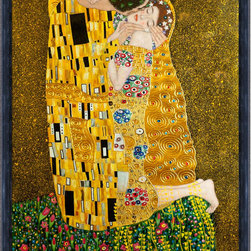"""overstockArt.com - Klimt - The Kiss (Full View - Luxury Line) - 36"""" X 48"""" Oil Painting On Canvas This painting is part of our """"Luxury Line"""". It is made of the same hand painted oils on canvas, with the addition of beautifully hand embellished gold and silver accents. Exclusive only to our highest quality reproductions. Hand painted oil reproduction of a famous Klimt painting, The Kiss. The original masterpiece was created in 1907-08. Today it has been carefully recreated detail-by-detail, color-by-color to near perfection. Gustav Klimt, the Vienna master painted the Kiss oil painting in 1907. The painting depicts a couple surrounded by a gold blanket and ornaments sharing a moment of shear passion - the perfect kiss. In the oil and gold masterpiece, the man appears standing as he holds in his arms the kneeling woman. The two seem to be positioned on a flower field, kissing, totally engaged with one another. The woman seems to be following the lead of her partner, but is not taking an active part. The patterns of the man are mostly black and white rectangles, while the woman is engulfed in flowers. The identity of the people depicted in this oil painting is not exactly clear; some suggest that it is Klimt himself and his beloved partner, Emilie Floge. However, that is sheer speculation as Klimt made it a point never to paint himself. Gustav Klimt (1862-1918) was one of the most innovative and controversial artists of the early twentieth century. Influenced by European avant-garde movements represented in the annual Secession exhibitions, Klimt's mature style combines richly decorative surface patterning with complex symbolism and allegory, often with overtly erotic content. This work of art has the same emotions and beauty as the original. Why not grace your home with this reproduced masterpiece? It is sure to bring many admirers!"""