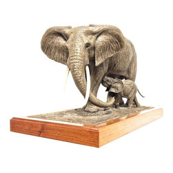 Used Elephant & Baby Sculpture Signed 105/300 - A beautiful signed sculpture of an elephant mother and her calf, manufactured and signed by Louis Paul Jones Studio.  It's number 105 of 300 and is in excellent vintage condition.