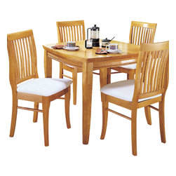 Homelegance - Homelegance Liz 5-Piece Dining Room Set in Oak - Solid wood bistro pub dining. Great for two or four persons sitting. Available in natural finish or antique black and Cherry finish.