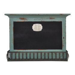 Enchante Accessories Inc - Distressed Wooden Hanging Chalkboard board with Iron Shelf (Distressed Teal) - Beautifully distressed wooden Whale theme Pin Board organizer is great for messages and reminder lists.