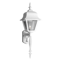 Progress Lighting - Progress Lighting Non-Metallic Incandescent Transitional Outdoor Wall Sconce - From the Non-Metallic Collection, this Progress Lighting outdoor wall sconce features a classic lantern design complete with a plethora of classic details including beautiful curves along the roof, a torch style body and a large, eye-catching finial. For added appeal, this White wall sconce also features clear beveled acrylic panels.