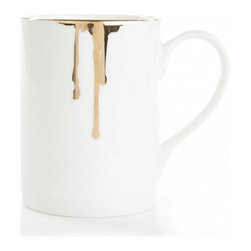 Reiko Kaneko - Reiko Kaneko Drip Tease Mug Gold - Fine china made in the UK dripped in gold!