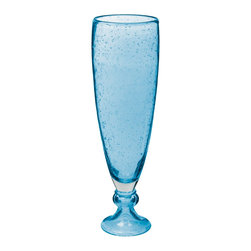Lazy Susan - Lazy Susan 787171 Bubbled Pool Blue Vase with Foot - Large - Fill this unusual bubbled vase with fresh or dried flowers for a lovely accent on your sideboard, end table or mantel. Even empty, the handcrafted glass will catch your eye in your contemporary home.