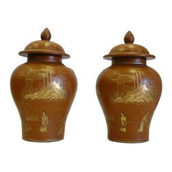 Golden Lotus - Pair Chinese Wooden Gold Color Scenery Small Jars - This decorative wooden small jar is painted with brown lacquer on the surface and oriental scenery is precisely drawn on the body.