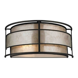 Design Classics Lighting - Mica Shade Wall Sconce - 1683 TB - Transitional tiffany bronze 2-light sconce light. Takes (2) 60-watt incandescent A19 bulb(s). Bulb(s) sold separately. UL listed. Dry location rated.