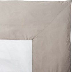 Serena & Lily - Light Bark Color Frame Duvet - All the perks of classic white bedding (crisp, fresh, versatile) with just the right splash of color. The beauty of this design is that it sets the stage for a multitude of looks use it as a base for more color and pattern or let it be the one bold element in an all-white bed.