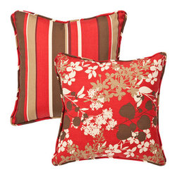 Pillow Perfect - Decorative Red/Brown Floral/Striped Toss Pillows Square Reversible  Set of Two - - Red/Brown  - 100% Polyester  - 100% Virgin Recycled Polyester Fill  - Self-Cord Edge  - Fade Resistant Mildew Resistant UV Protection Water Resistant Weather Resistant  - Made in USA Pillow Perfect - 353432