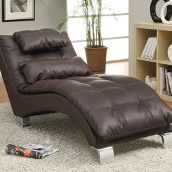 Coaster - 550076 Chaise - Brown - Create a contemporary look in your room with this pillow-top chaise featuring an arched base for support and contrasting stitching throughout. Wrapped in dark brown leather-like vinyl. Accent pillow included.
