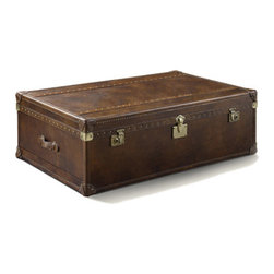"Vintage Steamer Trunk Table 54"" - Our reproduction of old time luggage trunks. Vintage leather with aged patina, canvas-lined drawers, leather-bound corner brackets, leather-wrapped handles, wood slats with aged"