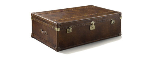"""Vintage Steamer Trunk Table 54"""" - Our reproduction of old time luggage trunks. Vintage leather with aged patina, canvas-lined drawers, leather-bound corner brackets, leather-wrapped handles, wood slats with aged"""