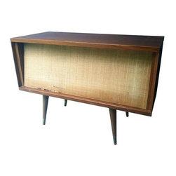 """Used Mid-Century Side Table Speaker Cabinet - This 1950's speaker cabinet doubles as a mod side table or console. 12"""" speaker is still inside and wired, and it can easily be hooked up for use. Make it your iPod docking station and watch your friends drool. 12"""" speaker made by University """"Diffusicone""""."""