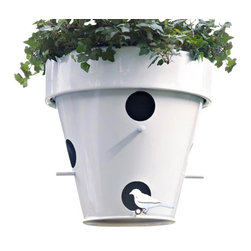 DeCastelli - 'Nest' Birdhouse Planter - This hanging outdoor planter also serves as the perfect perch for birds. Planter is made of laser cut steel and finished in a white powder coat with protective lacquer. Suitable for outdoor use.