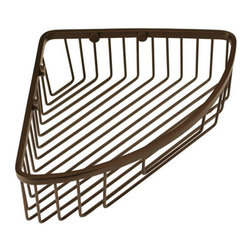 Corner Shower Basket - Burnished Bronze - The Corner Shower Basket is solid brass and allows you to keep your soap and bottles handy in the shower. Easily install in the corner of your shower for a convenient storage option.