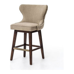 Four Hands - Metro Julie Swivel Barstool - Hyde Clay, Bar Height - The contemporary Metro Collection features a bold, European-inspired style. This collection of leather and fabric upholstery adds a new dimension to modern luxury. The collection features an array of occasional chairs, bar and counter stools/benches, dining chairs, beds and ottomans.