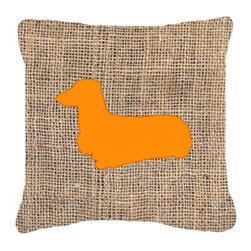 Caroline's Treasures - Dachshund Burlap and Orange Fabric Decorative Pillow Bb1078 - Indoor or Outdoor Pillow from heavyweight Canvas. Has the feel of Sunbrella Fabric. 18 inch x 18 inch 100% Polyester Fabric pillow Sham with pillow form. This pillow is made from our new canvas type fabric can be used Indoor or outdoor. Fade resistant, stain resistant and Machine washable..