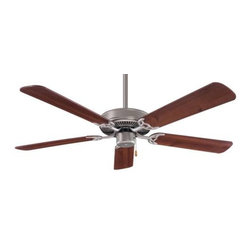Minka Aire - Minka Aire Contractor Ceiling Fan in Brushed Steel - Minka Aire Contractor Model MF-F547-BS/DW in Brushed Steel with Dark Walnut Finished Blades.