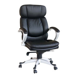 Adarn Inc - Convenient Black Bycast PU Upholstered Adjustable Swivel Office Task Arms Chair - This contemporary office task chair will add both style and comfort to your home office or study area. The plush high chair back and seat are covered in black bycast PU for comfortable seating, framed by sleek curved padded metal arms for a modern look. An adjustable height gas lift allows you to customize the fit, with casters below the silver tone base for easy mobility.