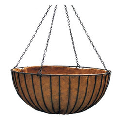 Border Concepts Liberty Hanging Basket with Liner - Add a splash of color to your home, business, or even on the streets of your municipality with the commercial grade Border Concepts Liberty Hanging Basket with Liner. Designed to show off your favorite plants and flowers, this hanging basket features a flat bar, powder-coated steel construction which is strong, durable, and weather resistant. Available in a variety of sizes, a preformed coconut liner, which is held together with natural tree sap instead, is also included.