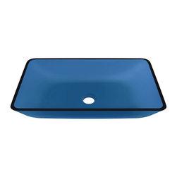 Polaris Sinks - P046 Colored Glass Vessel Bathroom Sink, Aqua - P046A Polaris Colored Glass Vessel Bathroom Sink