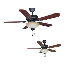 """Builder's Collection - Oil Rubbed Bronze 42"""" Ceiling Fan w/ Light Kit - Motor Finish: Oil Rubbed Bronze"""