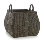 Auburn Square Basket - Toys, towels, magazines and more take their place in this lovely large basket, detailed with a distinctive weave that patterns each panel. Graceful curved handles make for easy toting.
