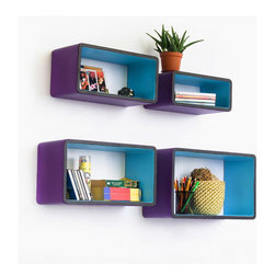 Blancho Bedding - [Lavender Love] Rectangle Leather Wall Shelf / Floating Shelf (Set of 4) - These beautifully crafted Rectangle Wall Shelves display the art of woodworking and add a refreshing element to your home. Versatile in design, these leather wall shelves come in various colors and patterns. They spice up your home's decor, and create a multifunctional storage unit for all around your home. These elegant pieces of wall decor can be used for various purposes. It is ideal for displaying keepsakes, books, CDs, photo frames and so much more. Install as shown or you may separate the shelves to create a layout that suits your taste and your style. You can hang them on the wall, or have them stand on table or floor, or any way you like. Each box serves as a practical shelf, as well as a great wall decoration.