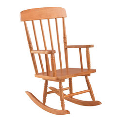 """KidKraft - Kidkraft Home Indoor Outdoor Kids Spindle Wooden Rocking Chair Honey - Our Spindle Rocking Chair is inspired by painter Norman Rockwell's classic artwork and was designed to capture the timelessness of that era. Kids will love rocking back and forth in this child-sized chair. Dimension: 22.75""""Lx 16.25""""Wx 29""""H, Seat 12.25""""H"""