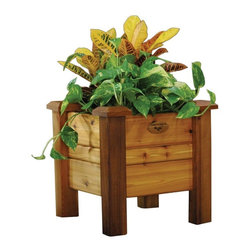 Gronomics - Gronomics Cedar Planter Box - PB 18-18 - Shop for Planters and Pottery from Hayneedle.com! You'll love comfortably growing your own plants and vegetables this summer in the beautifully designed Gronomics Cedar Planer Box. Featuring tool free assembly this gorgeous planter box is handcrafted in the United States from 100% western red cedar and has a 100% tung oil finish which is safe for food contact. Ergonomically designed for your comfort this planter box includes a fabric liner and one year warranty.Additional FeaturesHandcrafted in the USAIncludes a fabric linerIncludes a 1 year warranty